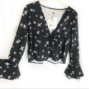 Bell sleeve black floral print boho crop top